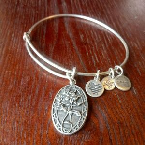 ❤ Silvertone alex and ani friend bracele